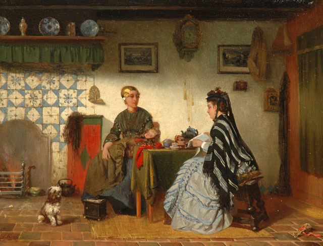 Sipke 'Cornelis' Kool | A Friesland interior, oil on panel, 26.6 x 34.9 cm, signed l.l. and dated on the reverse 1875
