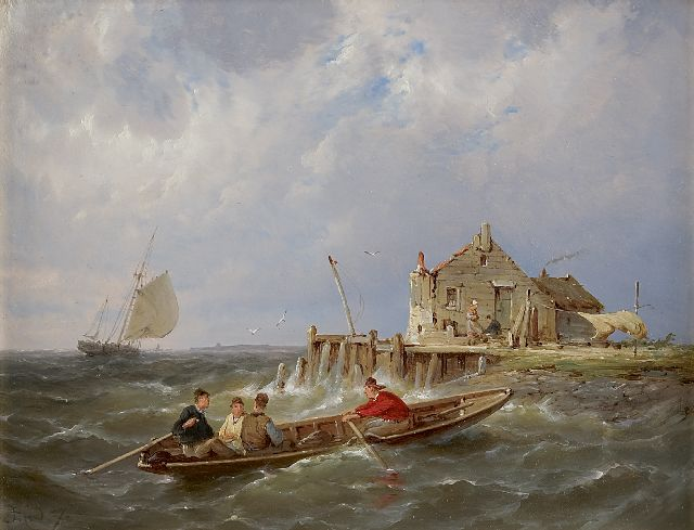 Pieter Cornelis Dommershuijzen | Fishermen off a jetty, oil on panel, 19.9 x 25.4 cm, signed l.l. with initials and dated '87