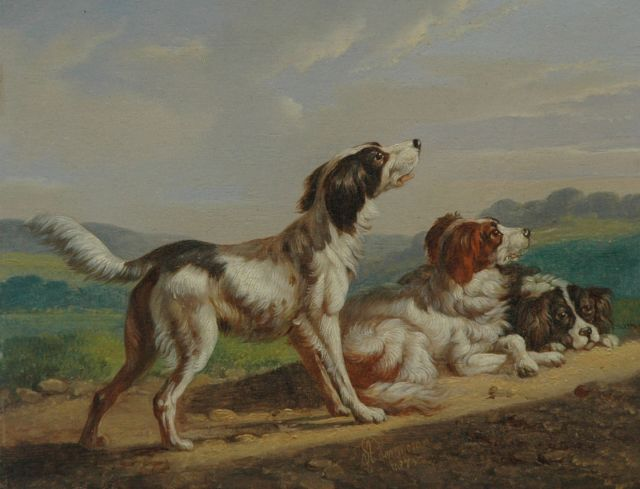 Albertus Verhoesen | Three Setters, oil on panel, 13.5 x 17.4 cm, signed l.c. and dated 1873