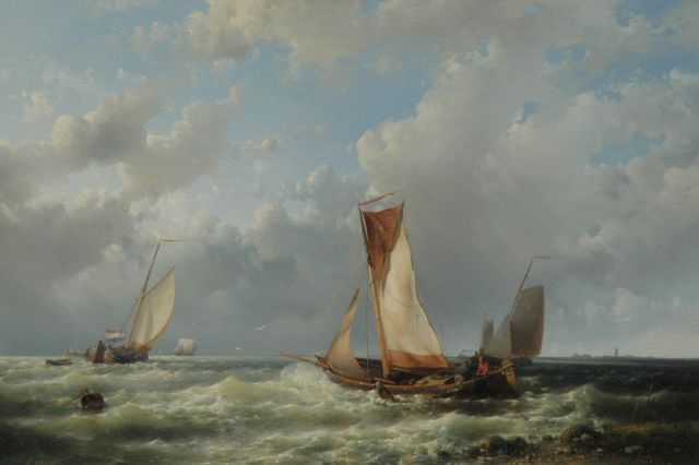 Abraham Hulk | Setting sail in a rising storm, oil on canvas, 44.6 x 66.2 cm, signed l.l.