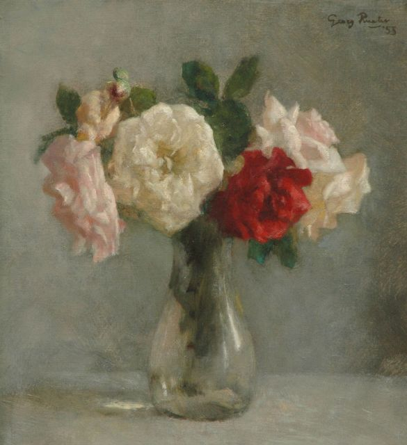Georg Rueter | Roses in vase of glass, oil on canvas, 46.0 x 42.0 cm, signed u.r. and dated '53