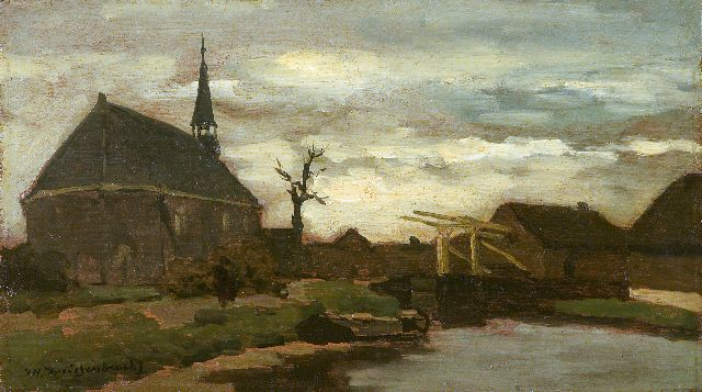 Jan Hendrik Weissenbruch | A view of the church of Nieuwkoop, The Netherlands, oil on panel, 18.1 x 31.7 cm, signed l.l.
