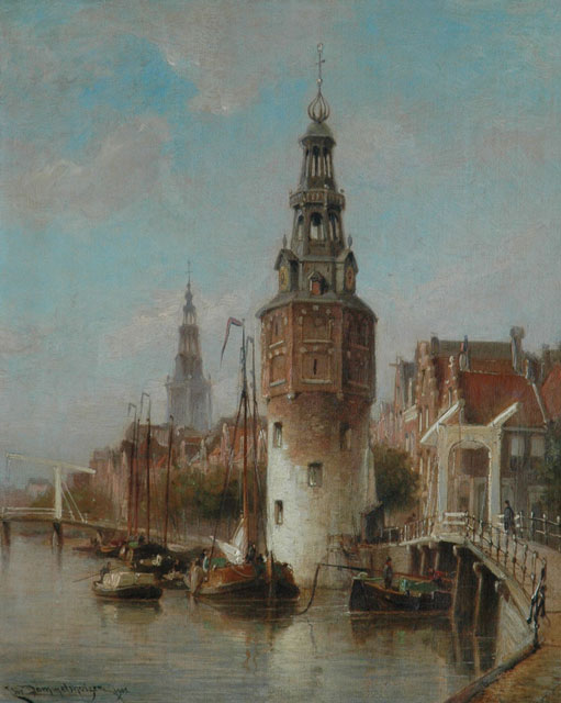 Cornelis Christiaan Dommelshuizen | A view of Amsterdam with the Montelbaanstoren, oil on canvas, 38.6 x 31.4 cm, signed l.l. and dated 1902