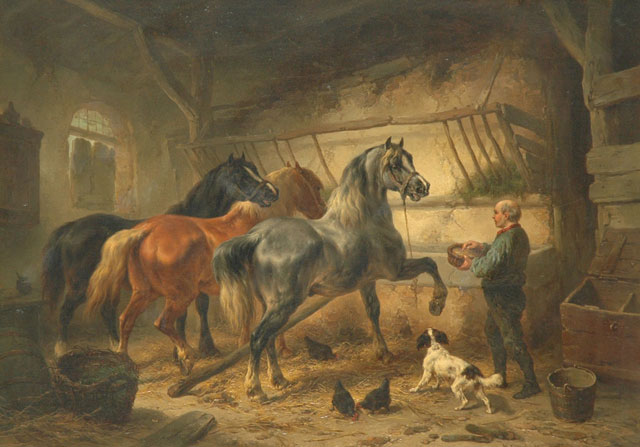 Wouterus Verschuur | Horses in a stable, oil on panel, 36.7 x 51.5 cm, signed l.r.