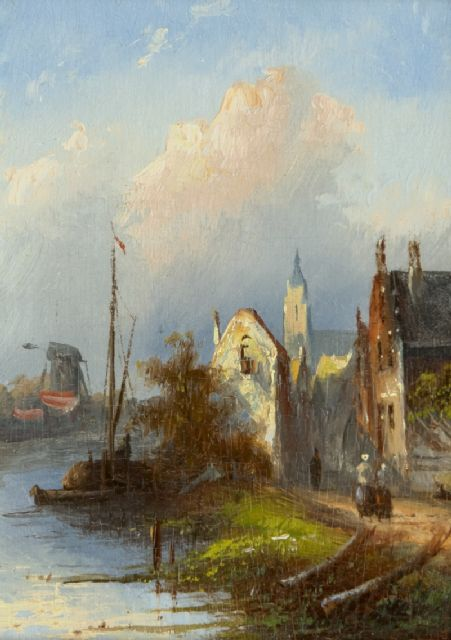 Jacob Jan Coenraad Spohler | Dutch river landscape with houses, oil on panel, 12.1 x 8.8 cm, signed on the reverse