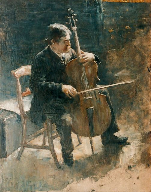 Paul Rink | The cello-player, oil on canvas, 50.5 x 40.2 cm, signed l.l.
