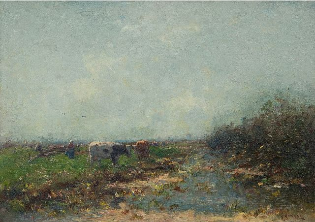 Knikker A.  | Milking time in a polder landscape, oil on canvas 30.8 x 43.5 cm, signed l.r.