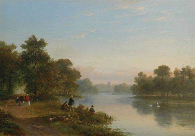 Lodewijk Johannes Kleijn | Figures near the pond of Huis ten Bosch, The Hague, oil on panel, 37.4 x 53.5 cm, signed l.c. and painted ca. 1860