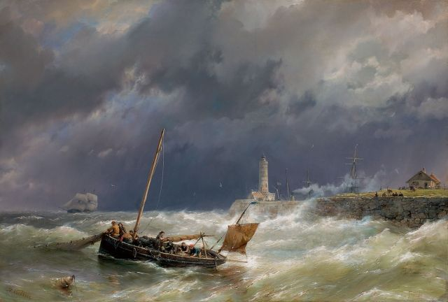 Koekkoek H.  | Gathering the nets on a stormy sea, oil on canvas 67.4 x 100.7 cm, signed l.l.