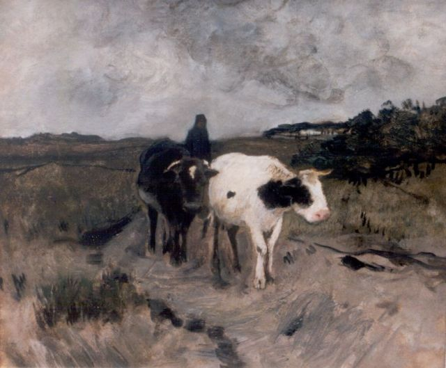 Anton Mauve | A farmer and oxes on a country road, pastel and watercolour on paper, 39.7 x 47.2 cm