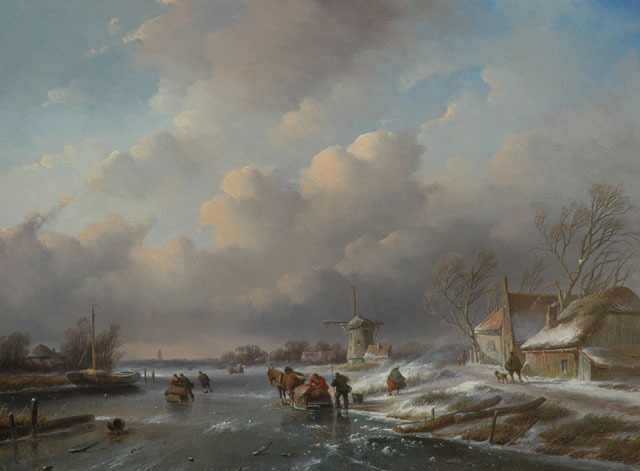Jan Jacob Spohler | A winter landscape withe figures and sledges on the ice, oil on panel, 48.2 x 64.2 cm, signed l.l.