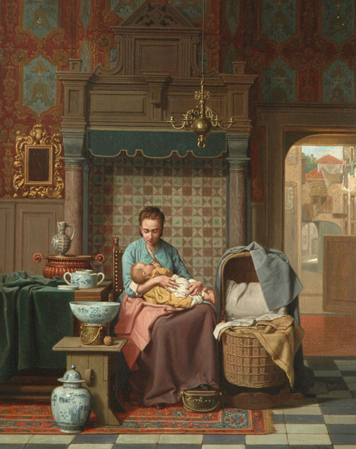 Carel Jozeph Grips | A Dutch interior with mother and child, oil on panel, 44.4 x 34.8 cm, signed l.r. and dated 1876