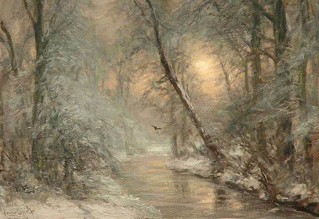 Louis Apol | A creek in a winter forest, oil on canvas, 45.3 x 61.2 cm, signed l.l.