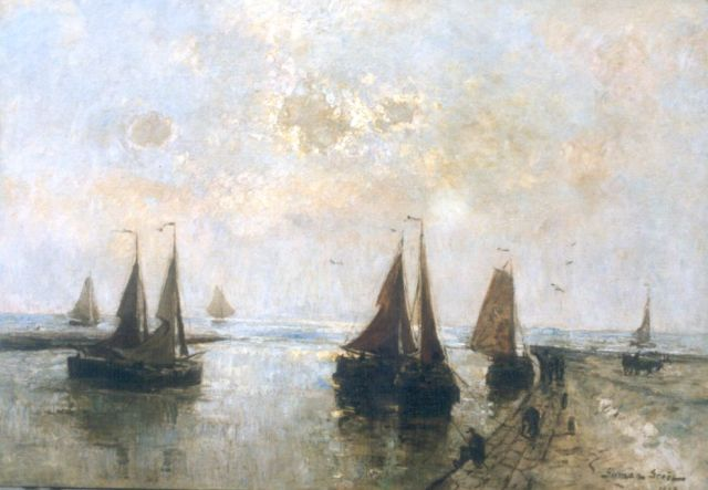 German Grobe | Moored 'bomschuiten', Katwijk, oil on panel, 87.2 x 125.0 cm, signed l.r. and dated 1908