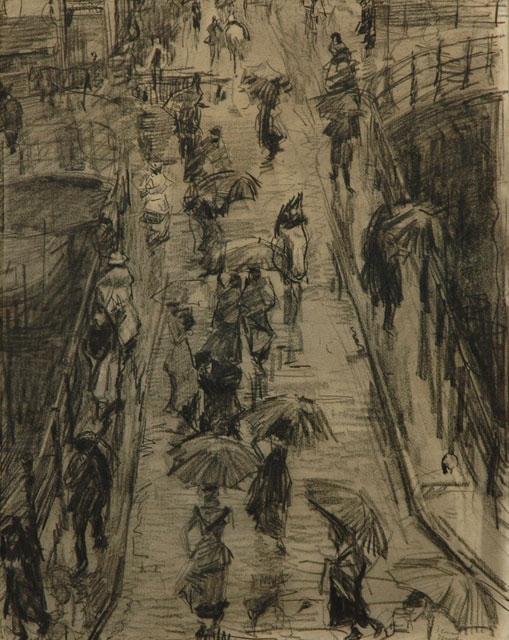 Israels I.L.  | Through the Rain; the Leliegracht in Amsterdam, charcoal and chalk on paper, 62.0 x 47.5 cm, signed l.r. en verso and Executed ca. 1890-1894