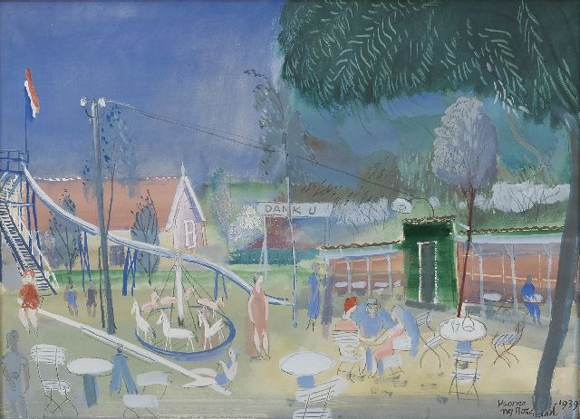 Willem Rozendaal | A playground, Voorne, gouache on paper, 40.0 x 51.2 cm, signed l.r. and dated 'Voorne' 1939