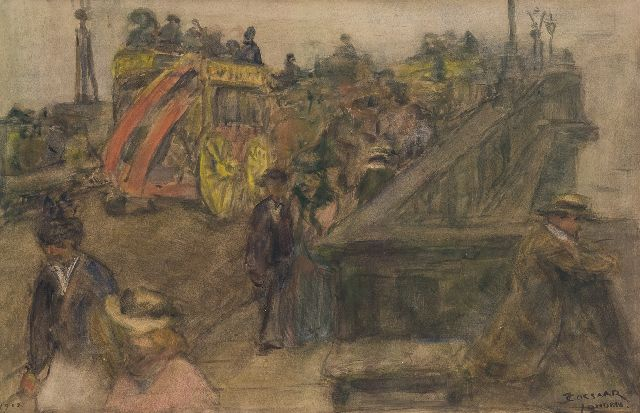 Ko Cossaar | A horsecar on Westminster Bridge, London, charcoal and watercolour on paper, 30.3 x 46.8 cm, signed l.r. and dated 1902