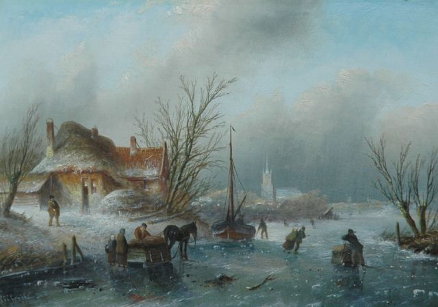 Jacob Jan Coenraad Spohler | Pleasure in the ice, oil on panel, 20.5 x 29.0 cm, signed l.l.