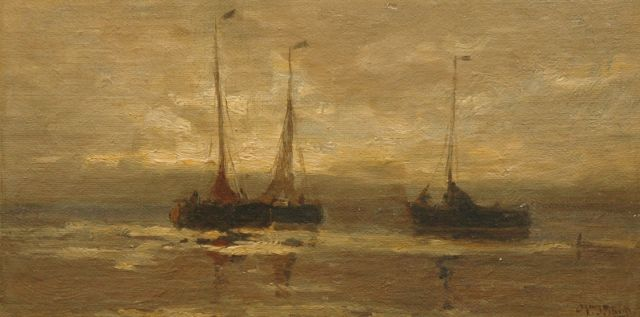 Willem Johannes Schütz | Two fishing boats at night, Zeeland, oil on canvas laid down on panel, 13.7 x 26.7 cm, signed l.r.