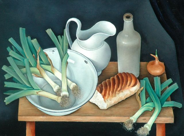 Willy Boers | A still life with leek, oil on canvas, 60.1 x 80.0 cm, signed l.r. and on the reverse and dated 1933 l.r. and on the reverse