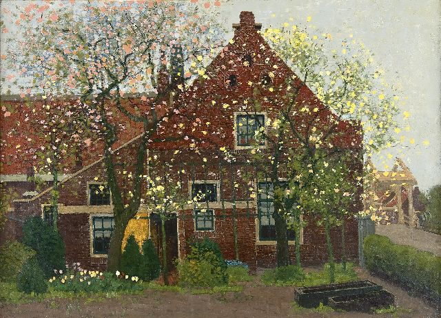 Derk Wiggers | A house in Loenen in spring, oil on canvas, 43.4 x 59.3 cm, signed l.r.