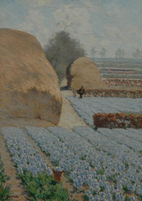 Anton L. Koster | Bulb fields near Heemstede, oil on canvas, 70.2 x 50.5 cm, signed l.l.