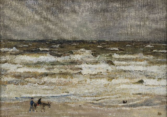 Harm Kamerlingh Onnes | A donkey-ride on the beach, oil on canvas laid down on board, 38.1 x 54.4 cm, signed l.l. with monogram and dated '41