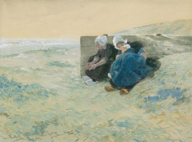 Hans von Bartels | Two women and a child in the dunes, gouache on paper, 29.7 x 40.6 cm, signed l.l. and dated 'München 1893'