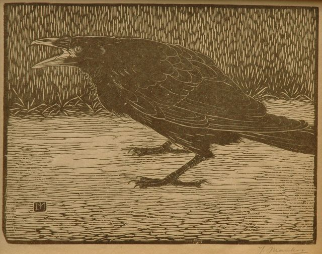 Jan Mankes | A screaming crow, woodcut on Japanese paper, 18.3 x 23.8 cm, signed with mon. in the block and l.r. in full (in pencil and executed 1918