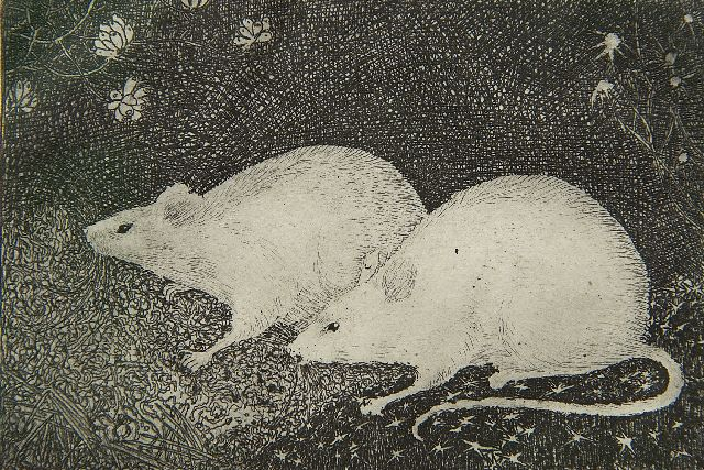 Jan Mankes | Two mice, etching on paper, 6.8 x 10.2 cm, signed l.r. (in pencil) and executed in 1916