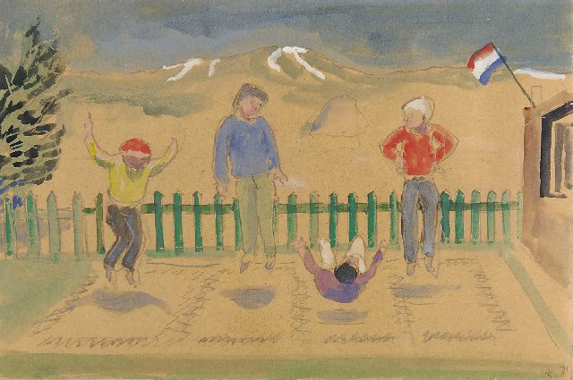 Kamerlingh Onnes H.H.  | On the trampoline, Terschelling, pen, ink and watercolour on paper 19.4 x 29.7 cm, signed l.r. with monogram and dated '71