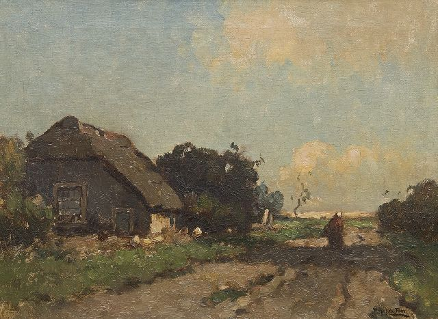 Aris Knikker | Farmer's wife near a cottage, oil on canvas, 30.2 x 40.5 cm, signed signed with pseudonym 'W. Markestein'