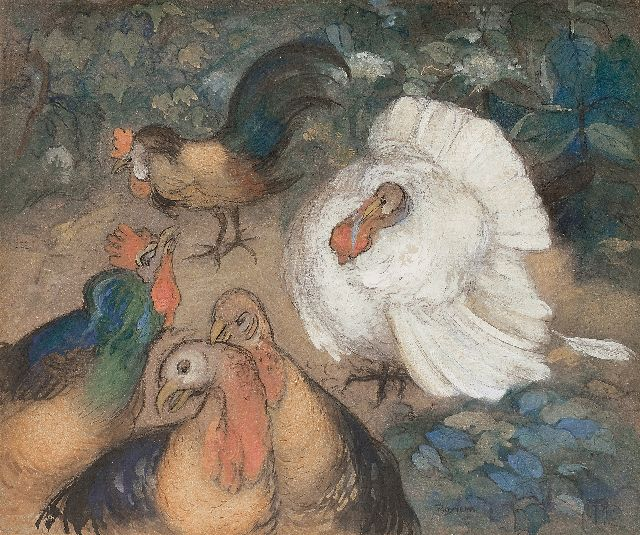 Theo van Hoytema | Poultry, chalk and watercolour on board, 49.6 x 59.6 cm, signed l.r. with monogram and in full