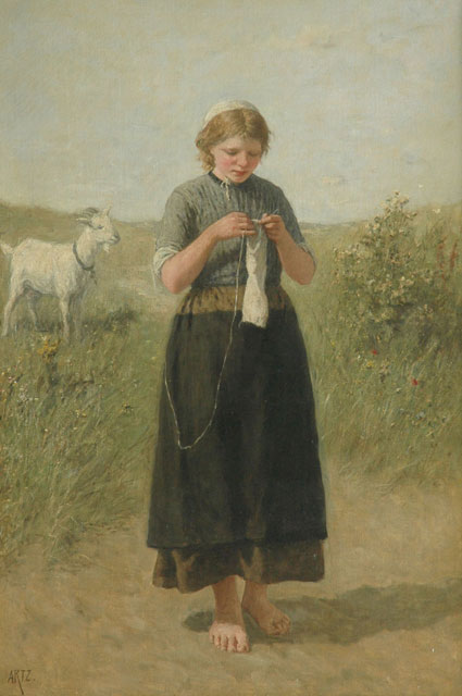 David Artz | Girl knitting in the dunes, oil on canvas, 139.5 x 94.4 cm, signed l.l.