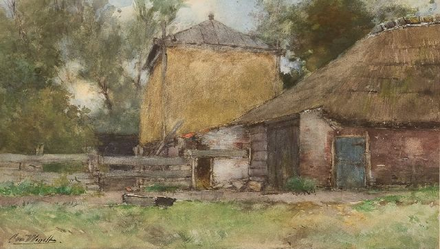 Chris van der Windt | A farm and a haystack, watercolour on paper, 31.0 x 51.0 cm, signed l.l.