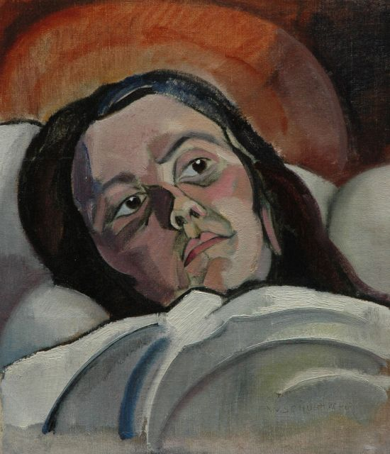 Wim Schuhmacher | The painter's sister, oil on canvas laid down on board, 46.4 x 40.2 cm, signed l.r. and executed ca. 1917