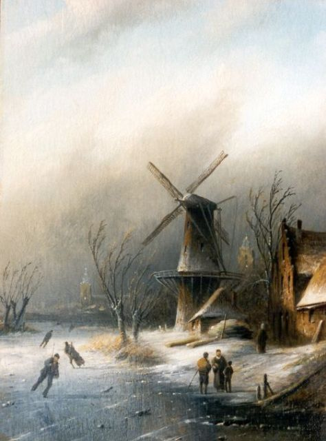 Jacob Jan Coenraad Spohler | A Dutch winter landscape, oil on panel, 21.5 x 15.8 cm, signed l.r.
