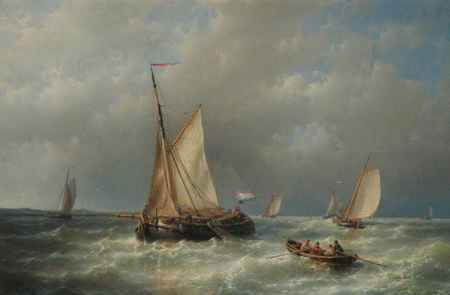 Abraham Hulk | Sailing ships at sea, oil on canvas, 60.3 x 90.3 cm, signed l.l.