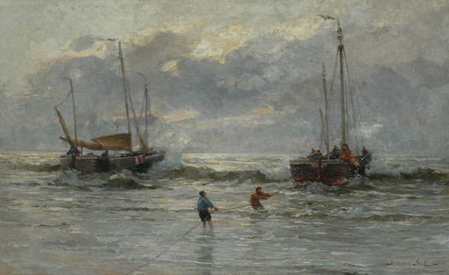 German Grobe | The arrival of the fishing fleet, Katwijk, oil on canvas, 82.2 x 130.4 cm, signed l.r.