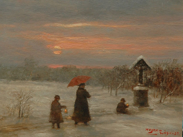 Rolf Dieter Meyer-Wiegand | A winter evening, oil on panel, 13.0 x 17.0 cm, signed l.r.