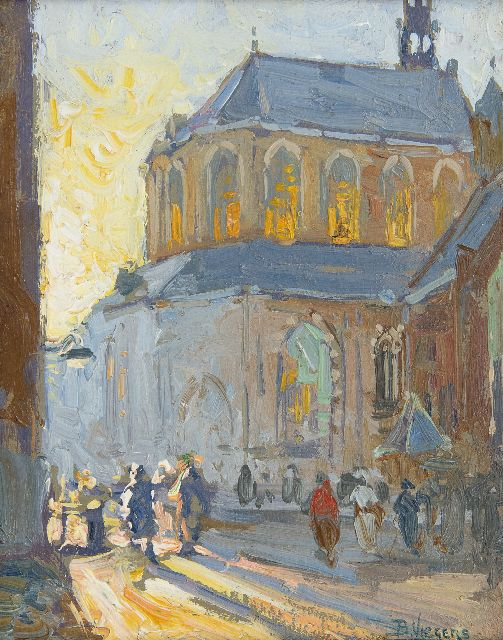 Viegers B.P.  | Behind the Grote Kerk, Den Haag, oil on paper laid down on panel 18.2 x 14.5 cm, signed l.r.
