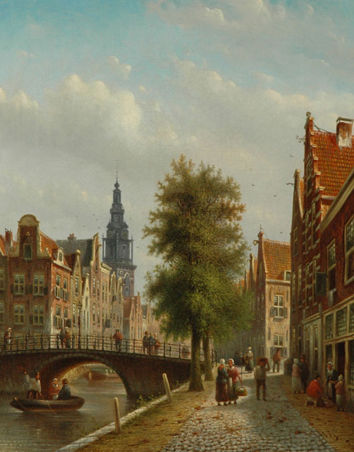 Johannes Franciscus Spohler | A dutch town view with the Amsterdamse Zuiderkerk, oil on canvas, 43.7 x 35.0 cm, signed l.r.