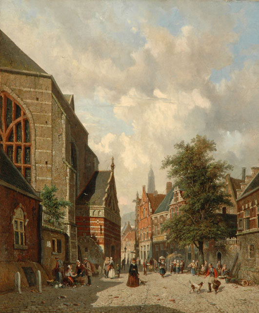 Adrianus Eversen | A Dutch street scene with figures, oil on canvas, 71.5 x 59.4 cm, signed l.l.