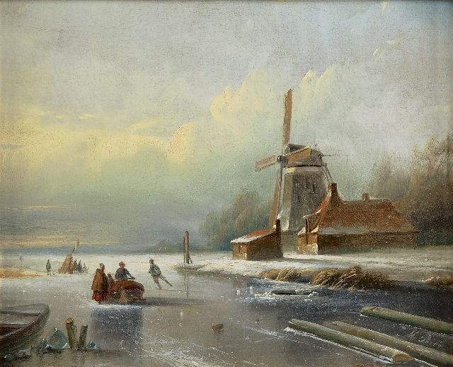 Matthias Parré | A winter landscape with skaters, oil on panel, 23.5 x 29.4 cm, signed l.r.
