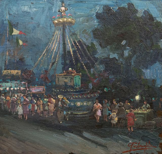 Felice Giordano | The merry-go-round by night, oil on canvas laid down on board, 47.8 x 50.8 cm, signed l.r.