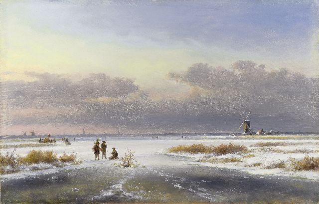 Lodewijk Johannes Kleijn | A winter landscape with skaters and windmills, oil on panel, 33.5 x 52.0 cm, signed l.r.