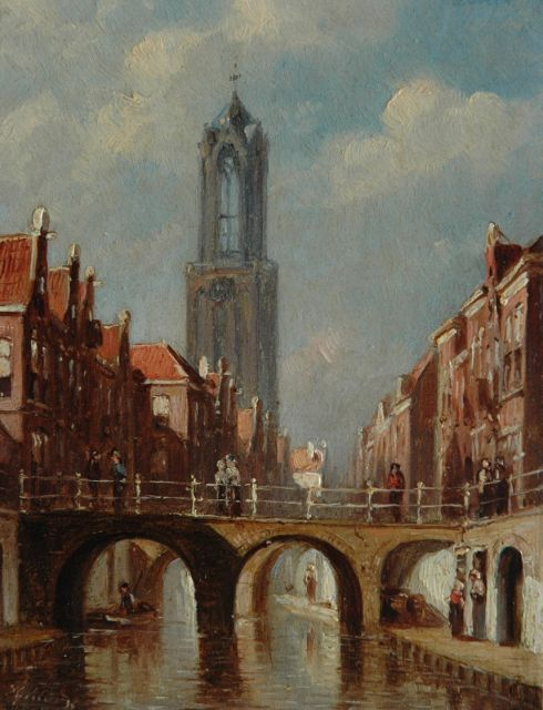 Petrus Gerardus Vertin | A town view with the Dom tower in Utrecht, oil on panel, 14.8 x 11.3 cm, signed l.l.