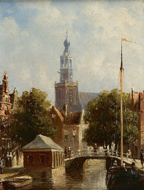 Petrus Gerardus Vertin | A town view with the St. Janskerk in Gouda, oil on panel, 14.9 x 11.4 cm