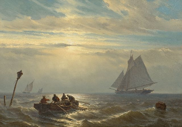 Meijer J.H.L.  | Ships at sea at sunset, oil on panel 30.7 x 42.1 cm, signed l.r.