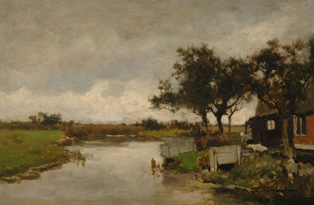 Jan Hendrik Weissenbruch | Washing day, oil on panel, 23.9 x 36.1 cm, signed l.r.